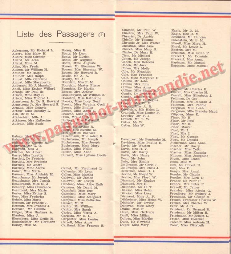 PAQUEBOT NORMANDIE - LISTE DES PASSAGERS DU 25 AOUT 1937 - 2ème CLASSE / 2-4