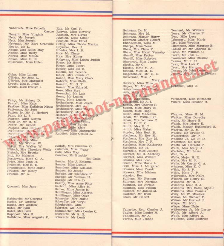 PAQUEBOT NORMANDIE - LISTE DES PASSAGERS DU 25 AOUT 1937 - 2ème CLASSE / 2-6