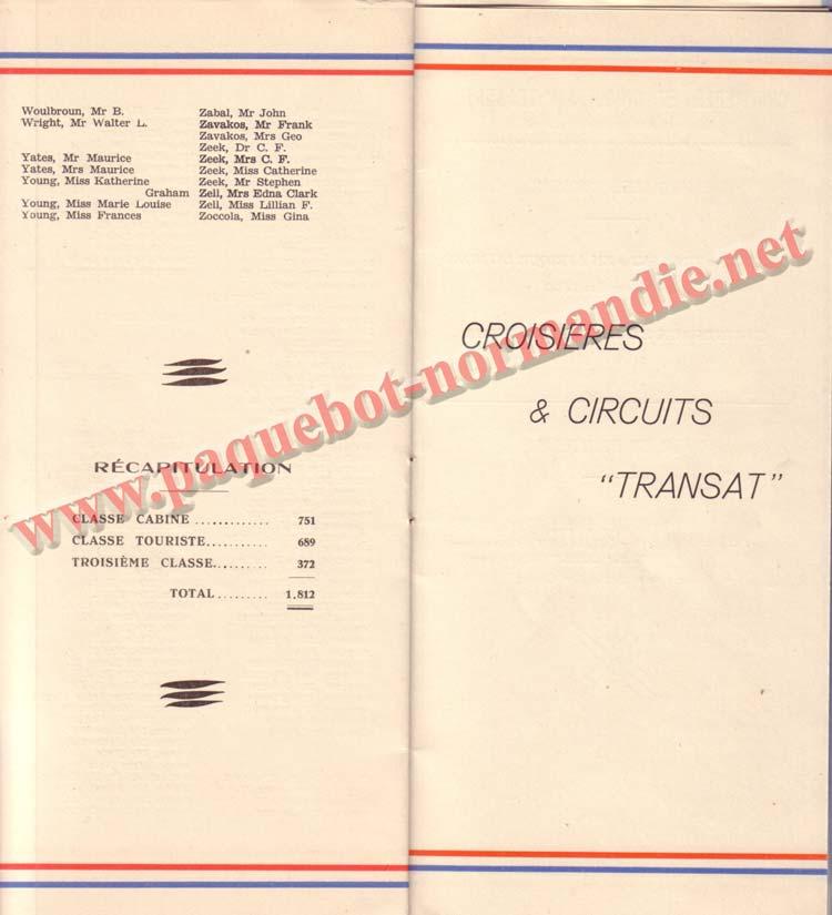 PAQUEBOT NORMANDIE - LISTE DES PASSAGERS DU 25 AOUT 1937 - 2ème CLASSE / 2-7