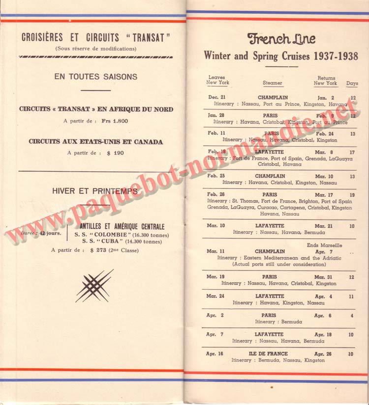 PAQUEBOT NORMANDIE - LISTE DES PASSAGERS DU 25 AOUT 1937 - 2ème CLASSE / 2-8