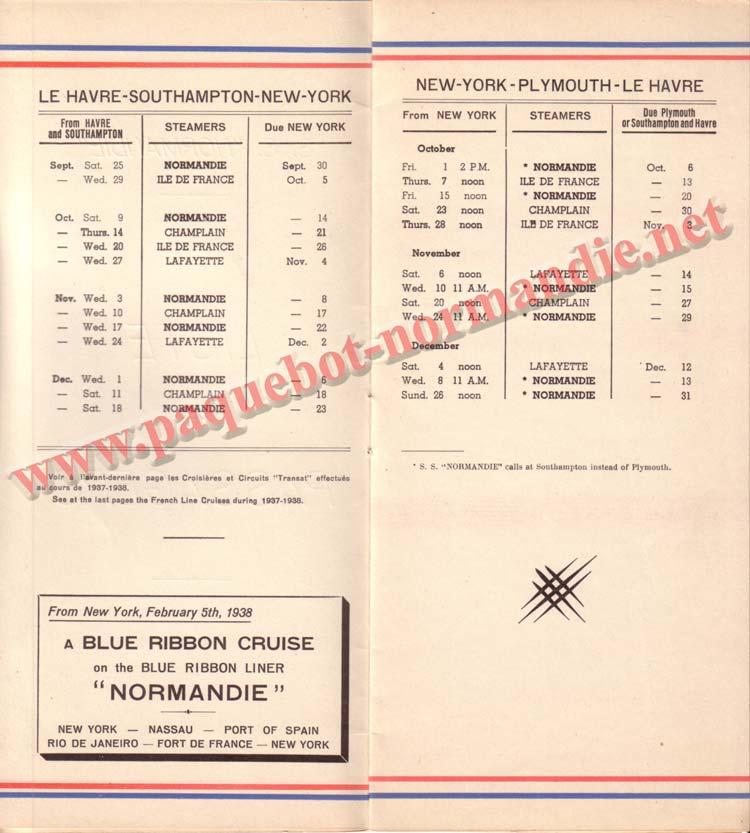 PAQUEBOT NORMANDIE - LISTE DES PASSAGERS DU 25 SEPTEMBRE 1937 - 2ème CLASSE / 2-2