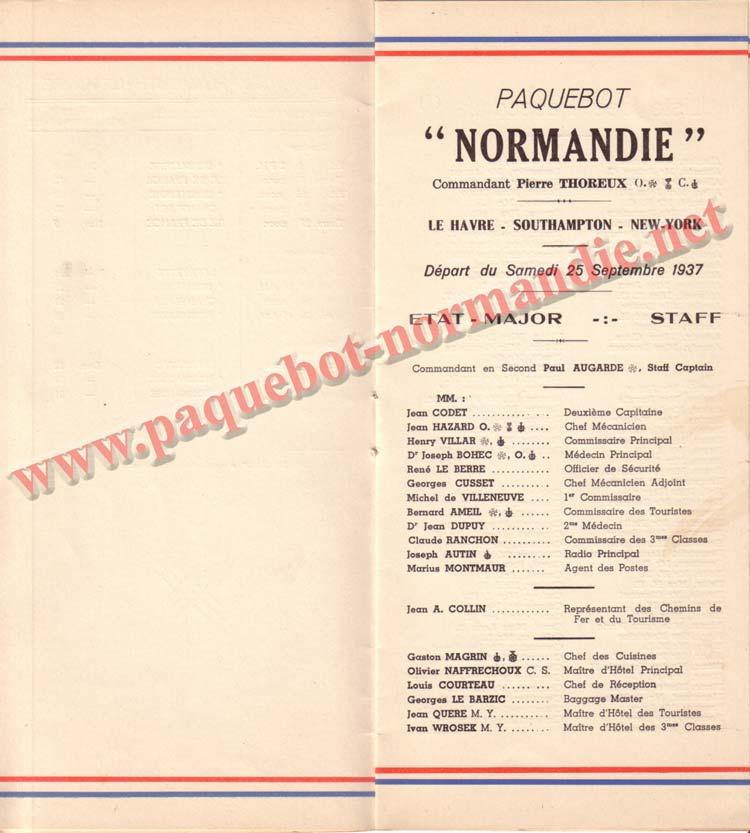 PAQUEBOT NORMANDIE - LISTE DES PASSAGERS DU 25 SEPTEMBRE 1937 - 2ème CLASSE / 2-3