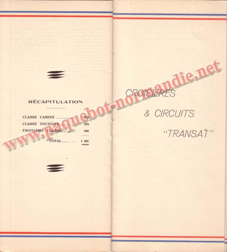 PAQUEBOT NORMANDIE - LISTE DES PASSAGERS DU 25 SEPTEMBRE 1937 - 2ème CLASSE / 2-7