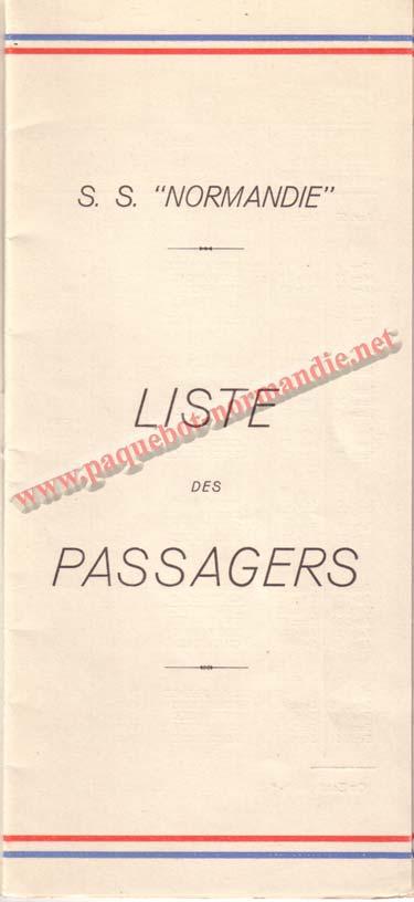 PAQUEBOT NORMANDIE - LISTE DES PASSAGERS DU 26 AVRIL 1939 - 1ère CLASSE / 1-1