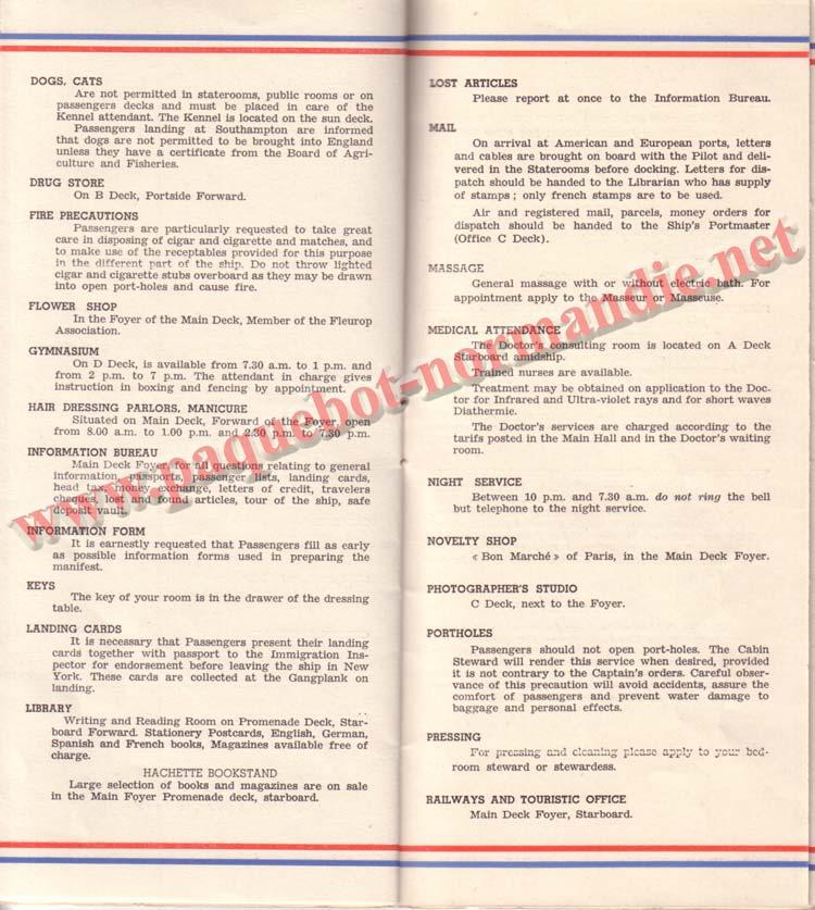 PAQUEBOT NORMANDIE - LISTE DES PASSAGERS DU 26 AVRIL 1939 - 1ère CLASSE / 1-10