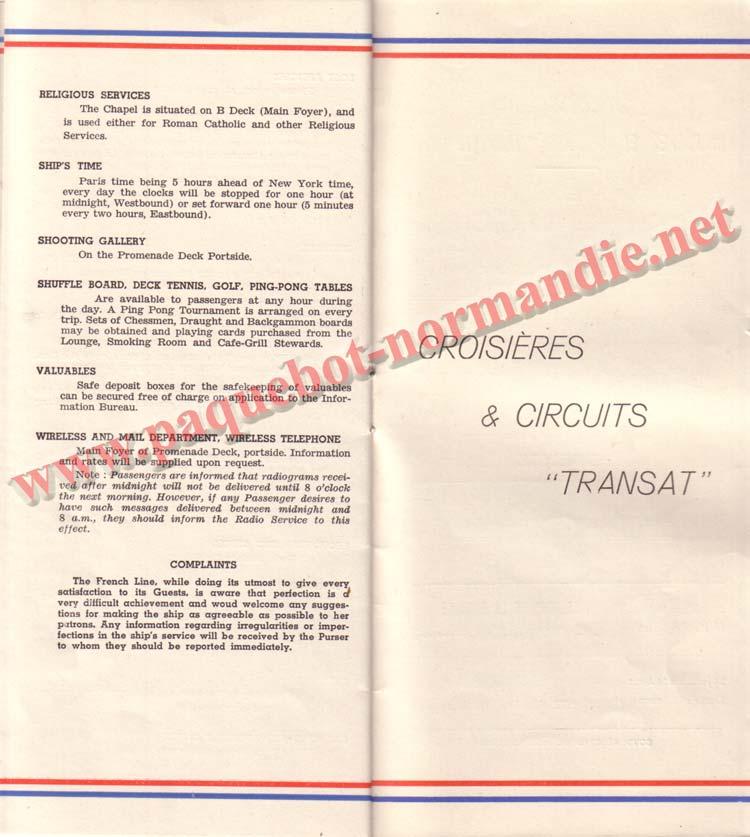 PAQUEBOT NORMANDIE - LISTE DES PASSAGERS DU 26 AVRIL 1939 - 1ère CLASSE / 1-11