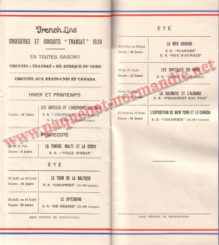 PAQUEBOT NORMANDIE - LISTE DES PASSAGERS DU 26 AVRIL 1939 - 1ère CLASSE / 1-12