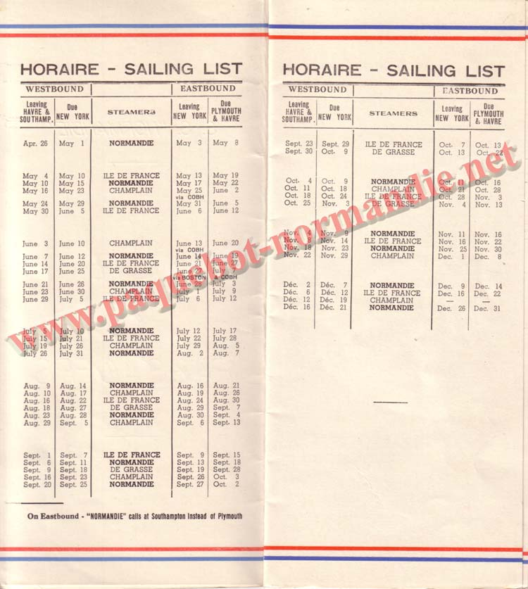 PAQUEBOT NORMANDIE - LISTE DES PASSAGERS DU 26 DECEMBRE 1938 - 1ère CLASSE / 1-