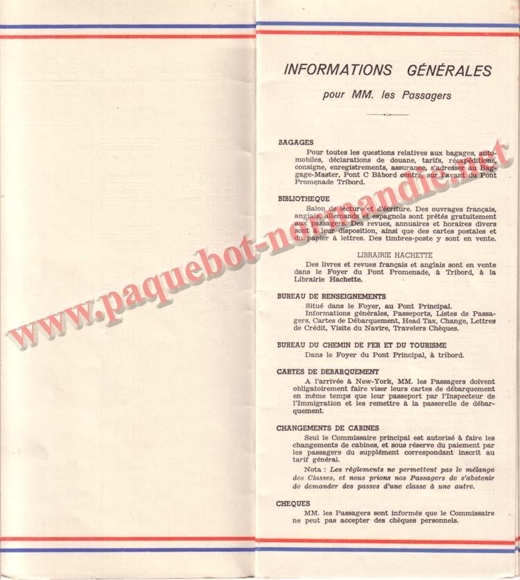PAQUEBOT NORMANDIE - LISTE DES PASSAGERS DU 26 DECEMBRE 1938 - 1ère CLASSE / 1-3