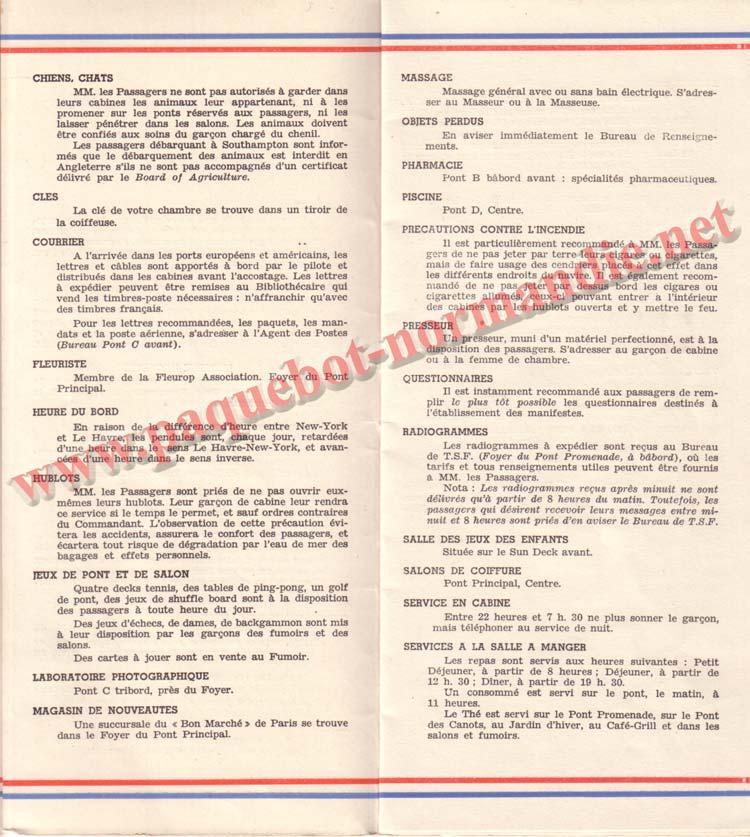 PAQUEBOT NORMANDIE - LISTE DES PASSAGERS DU 26 DECEMBRE 1938 - 1ère CLASSE / 1-4