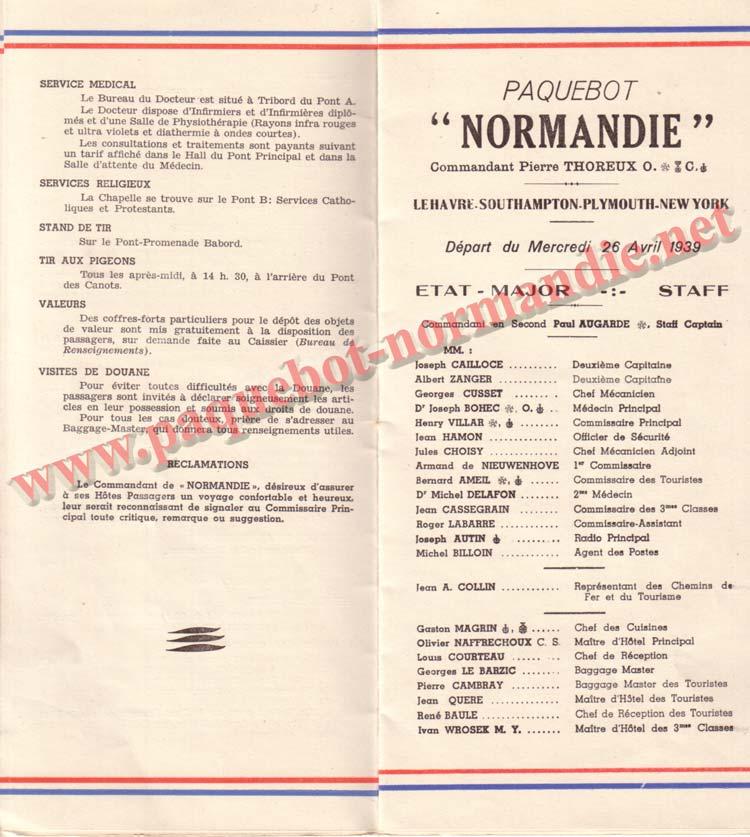 PAQUEBOT NORMANDIE - LISTE DES PASSAGERS DU 26 DECEMBRE 1938 - 1ère CLASSE / 1-5