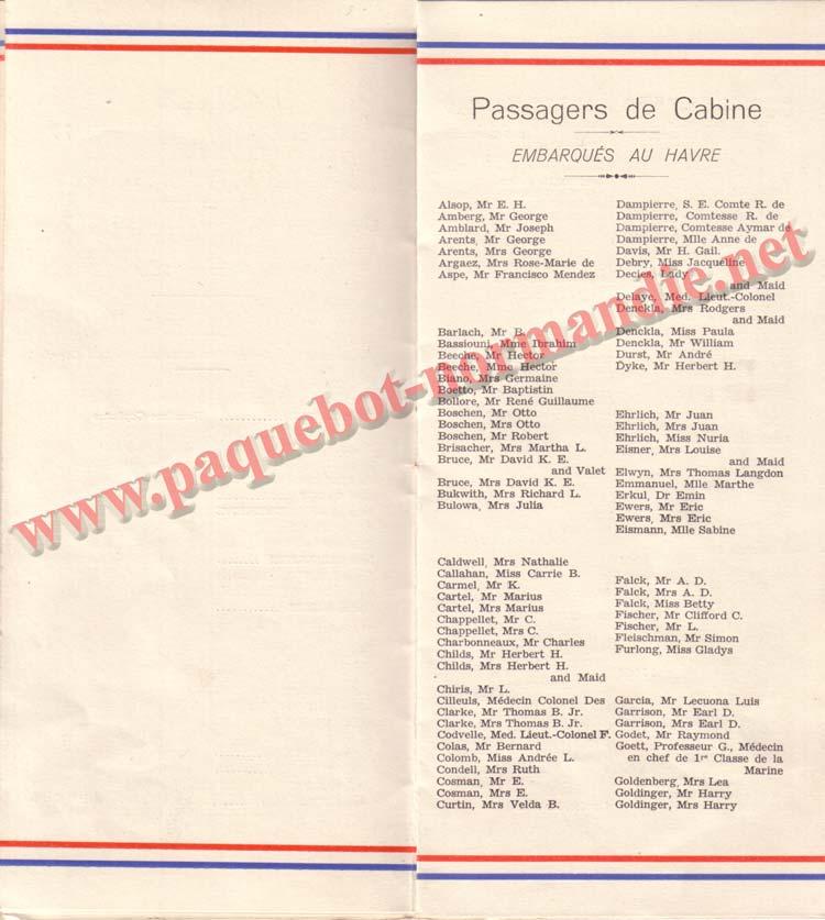 PAQUEBOT NORMANDIE - LISTE DES PASSAGERS DU 26 DECEMBRE 1938 - 1ère CLASSE / 1-6