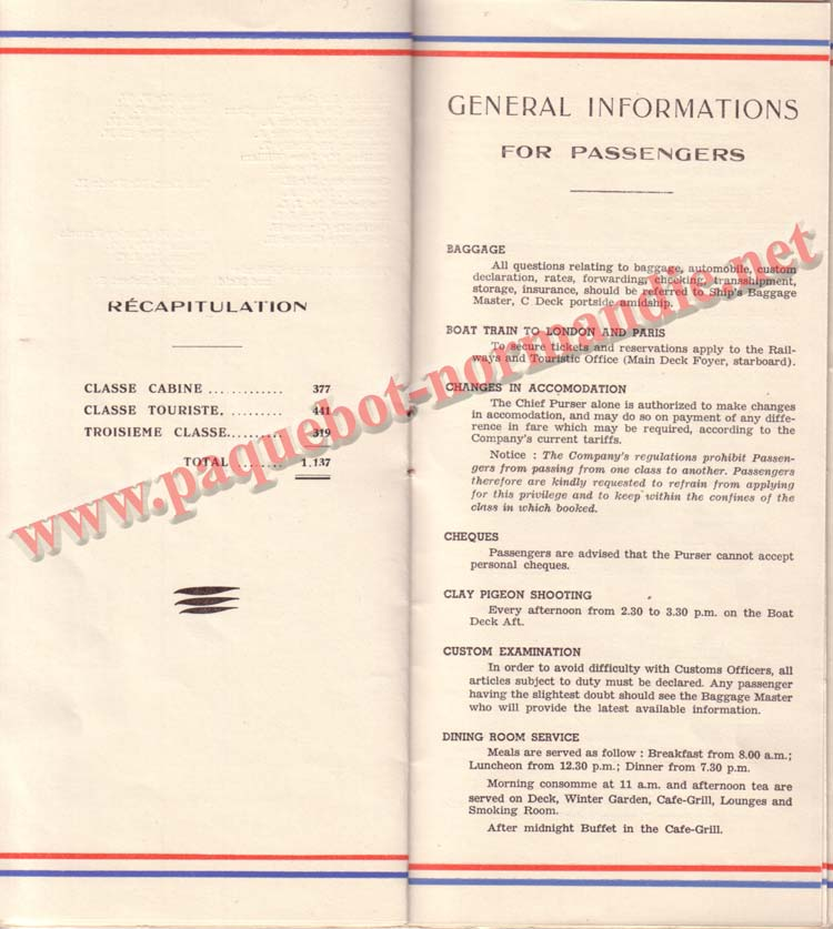 PAQUEBOT NORMANDIE - LISTE DES PASSAGERS DU 26 AVRIL 1939 - 1ère CLASSE / 1-9