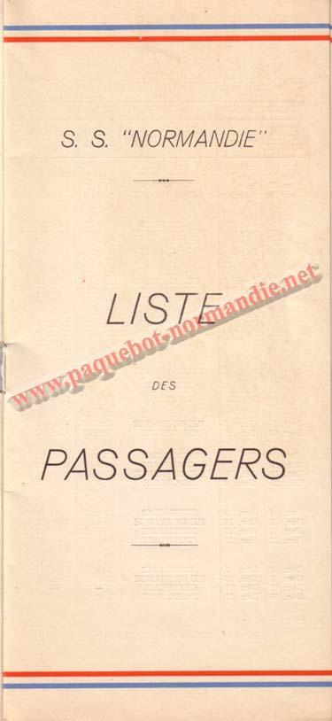 PAQUEBOT NORMANDIE - LISTE DES PASSAGERS DU 26 JUILLET 1939 - 2ème CLASSE / 2-1