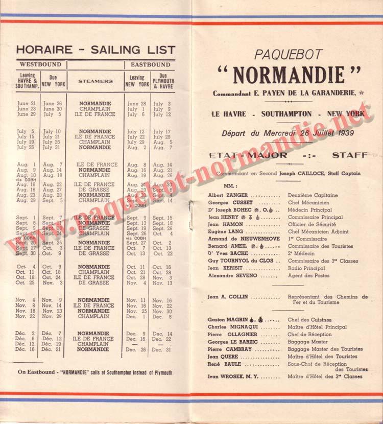 PAQUEBOT NORMANDIE - LISTE DES PASSAGERS DU 26 JUILLET 1939 - 2ème CLASSE / 2-2