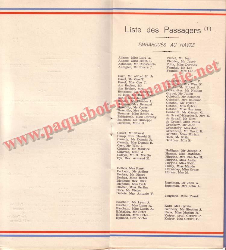 PAQUEBOT NORMANDIE - LISTE DES PASSAGERS DU 26 JUILLET 1939 - 2ème CLASSE / 2-3