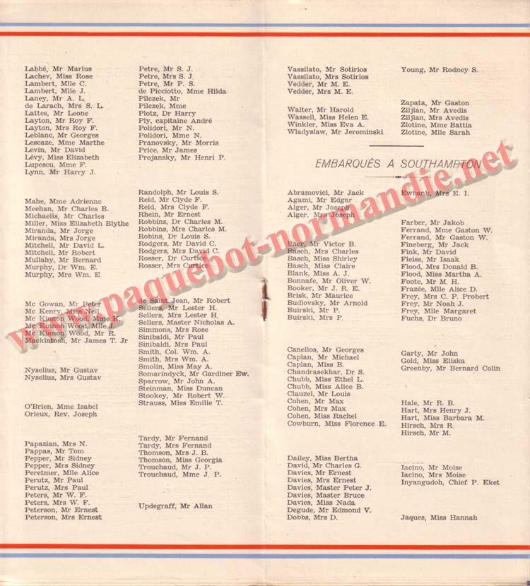 PAQUEBOT NORMANDIE - LISTE DES PASSAGERS DU 26 JUILLET 1939 - 2ème CLASSE / 2-4
