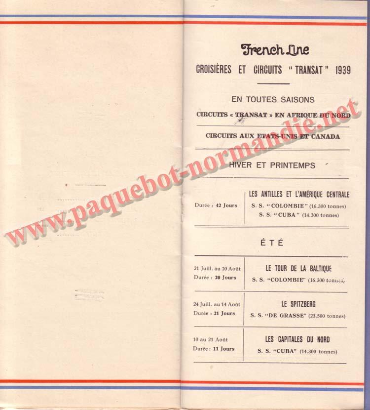 PAQUEBOT NORMANDIE - LISTE DES PASSAGERS DU 26 JUILLET 1939 - 2ème CLASSE / 2-6