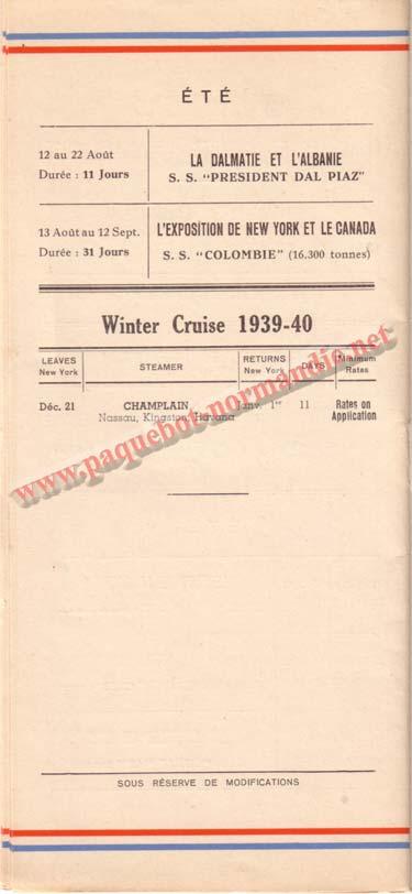 PAQUEBOT NORMANDIE - LISTE DES PASSAGERS DU 26 JUILLET 1939 - 2ème CLASSE / 2-