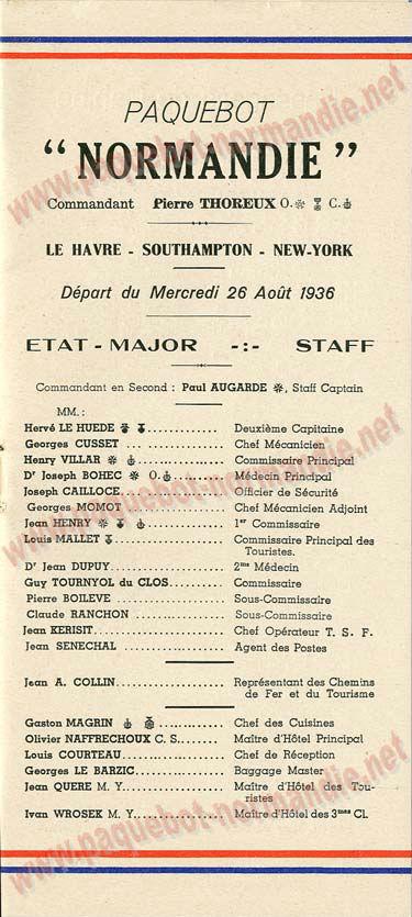 Paquebot s/s Normandie - LISTE PASSAGERS 26.08.36 / 1-2
