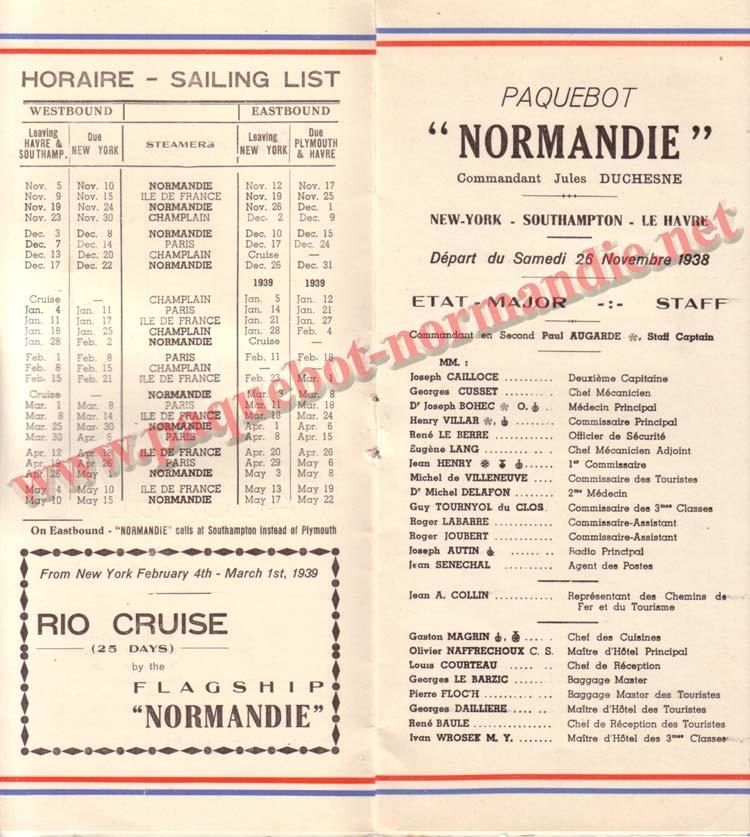 PAQUEBOT NORMANDIE - LISTE DES PASSAGERS DU 12 NOVEMBRE 1938 - 3ème CLASSE / 3-2