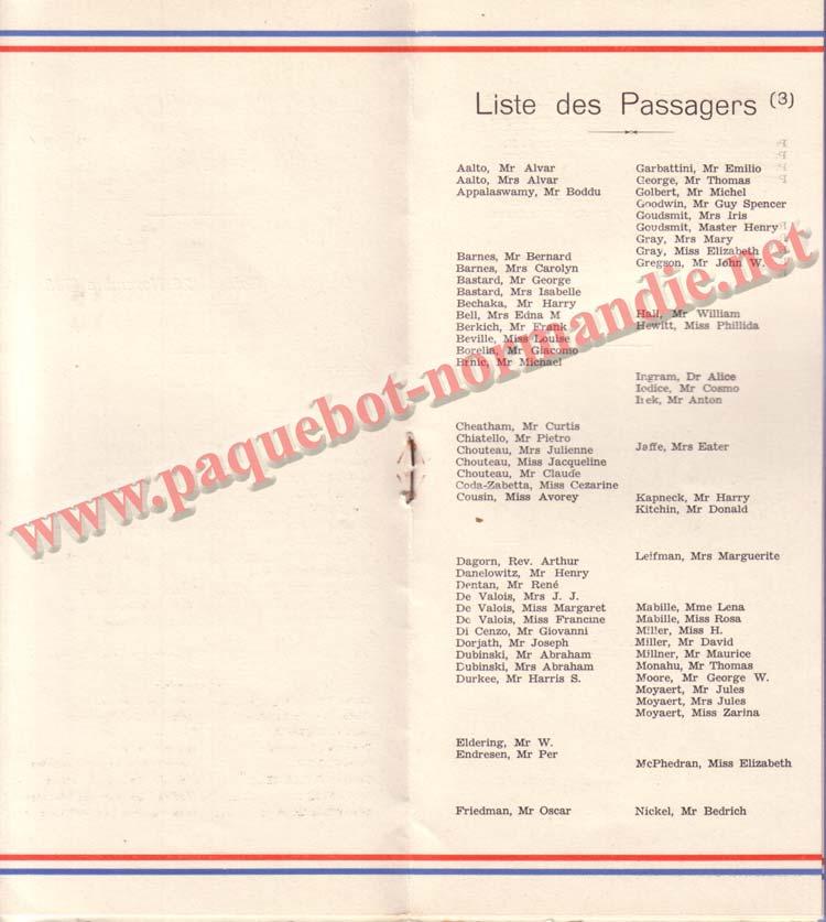 PAQUEBOT NORMANDIE - LISTE DES PASSAGERS DU 12 NOVEMBRE 1938 - 3ème CLASSE / 3-3