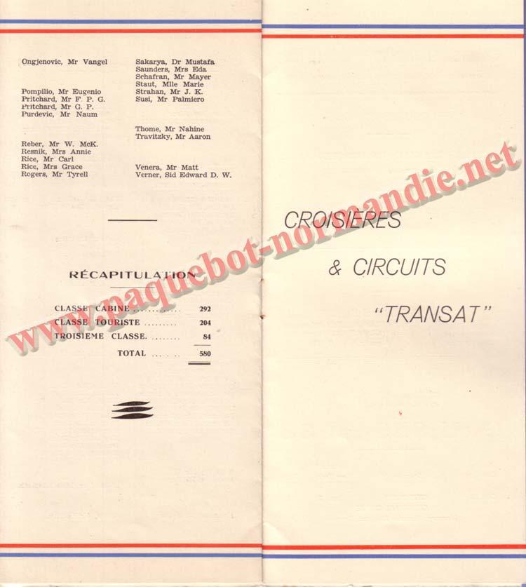 PAQUEBOT NORMANDIE - LISTE DES PASSAGERS DU 12 NOVEMBRE 1938 - 3ème CLASSE / 3-4