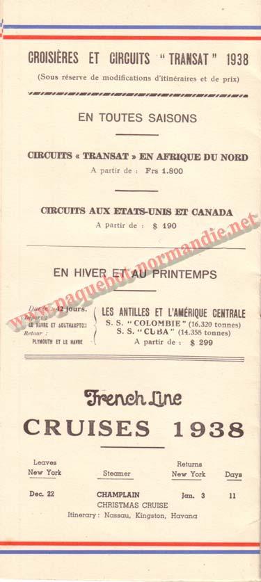 PAQUEBOT NORMANDIE - LISTE DES PASSAGERS DU 12 NOVEMBRE 1938 - 3ème CLASSE / 3-5