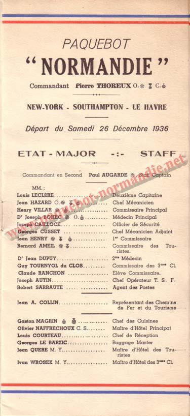 LISTE PASSAGERS DU 26 DECEMBRE 1936 - 2ème CLASSE / 2-1