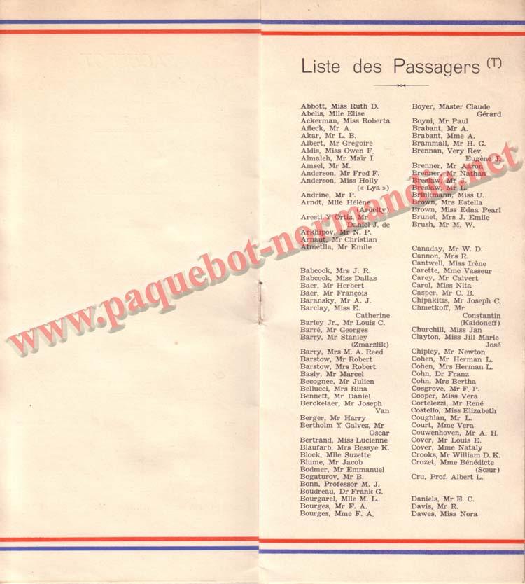 LISTE PASSAGERS DU 26 DECEMBRE 1936 - 2ème CLASSE / 2-2
