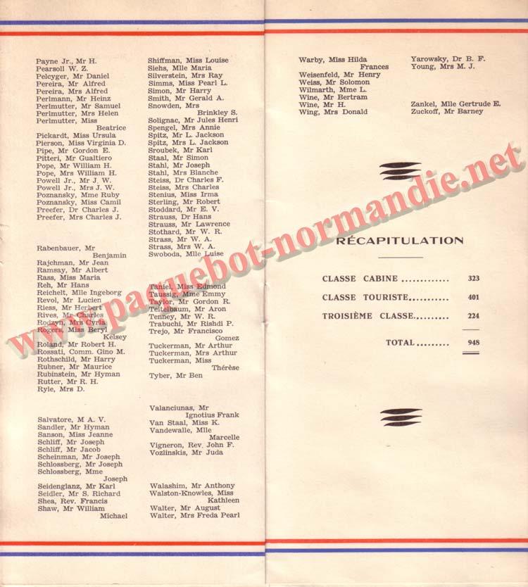 LISTE PASSAGERS DU 26 DECEMBRE 1936 - 2ème CLASSE / 2-4