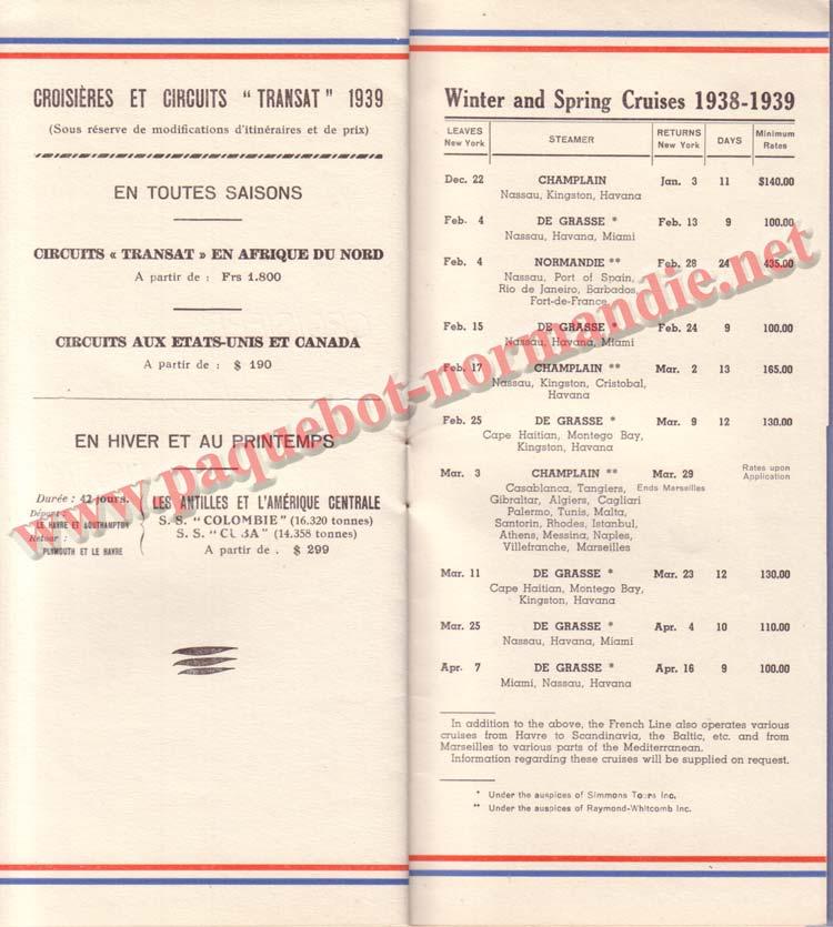 PAQUEBOT NORMANDIE - LISTE DES PASSAGERS DU 26 DECEMBRE 1938 - 1ère CLASSE / 1-10