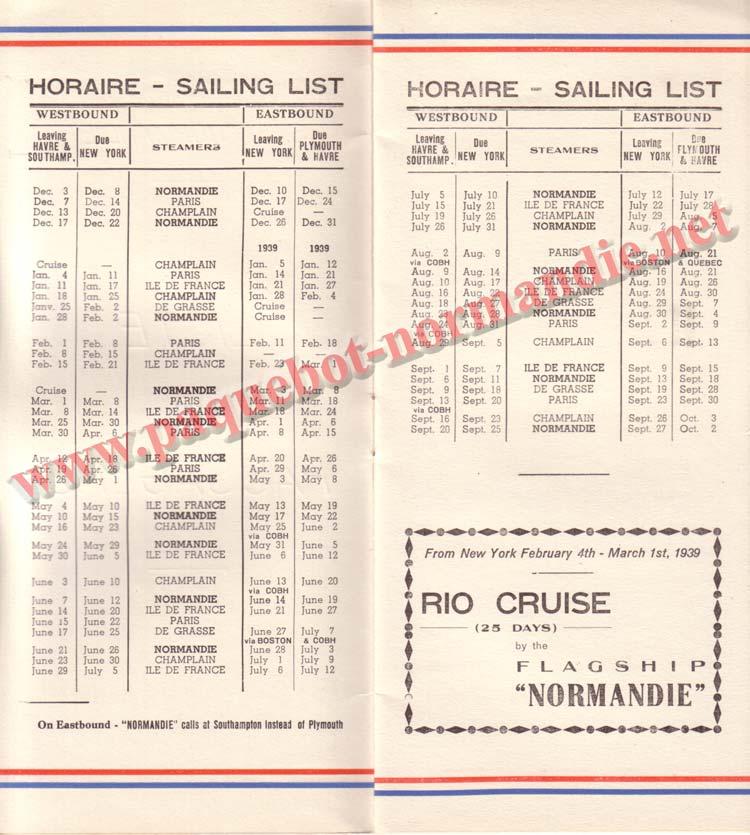 PAQUEBOT NORMANDIE - LISTE DES PASSAGERS DU 26 DECEMBRE 1938 - 1ère CLASSE / 1-2