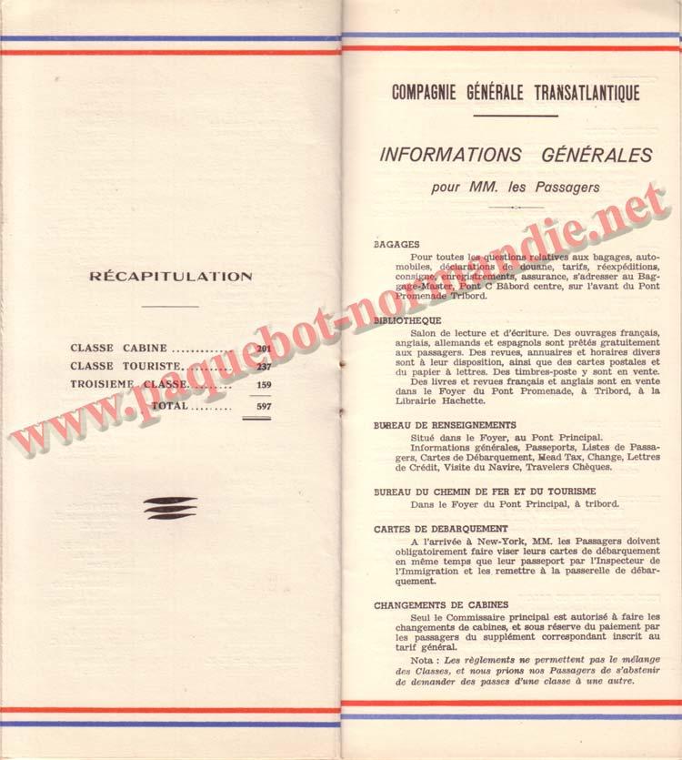 PAQUEBOT NORMANDIE - LISTE DES PASSAGERS DU 26 DECEMBRE 1938 - 1ère CLASSE / 1-7