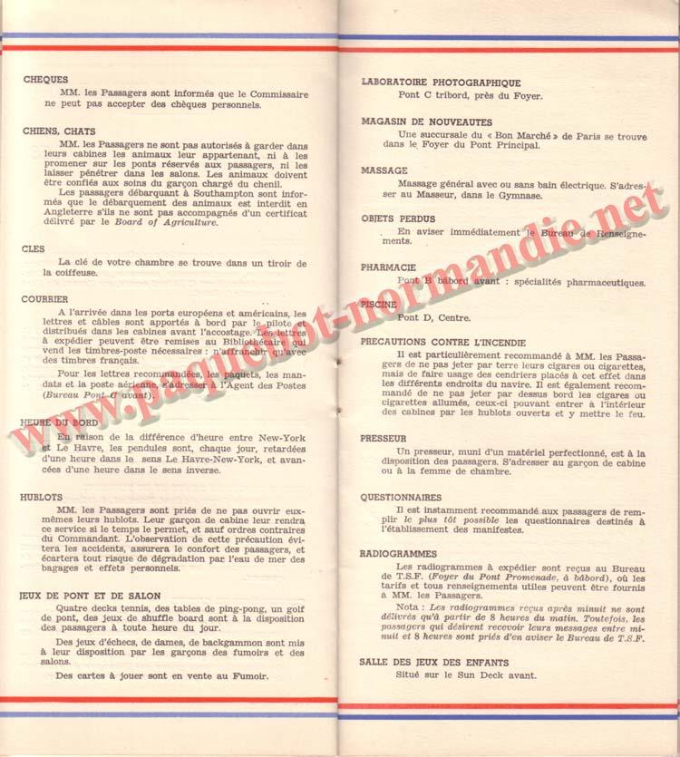 PAQUEBOT NORMANDIE - LISTE DES PASSAGERS DU 26 DECEMBRE 1938 - 1ère CLASSE / 1-8
