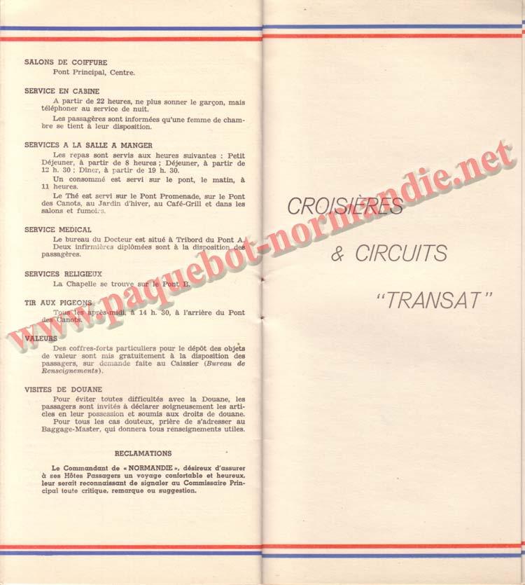 PAQUEBOT NORMANDIE - LISTE DES PASSAGERS DU 26 DECEMBRE 1938 - 1ère CLASSE / 1-9