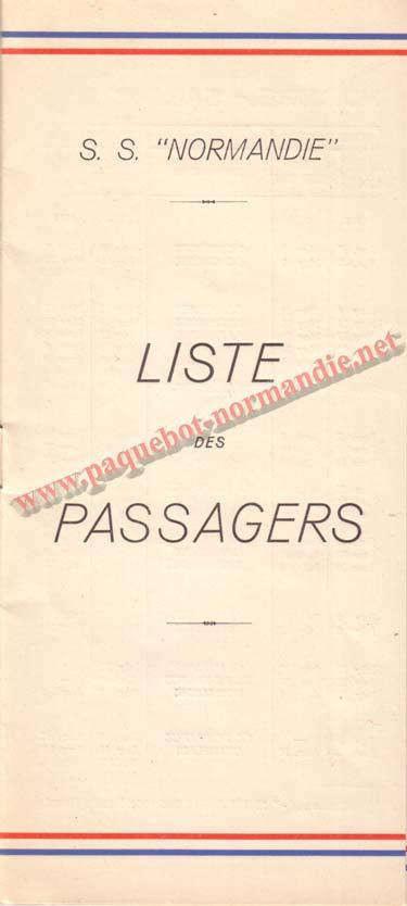 PAQUEBOT NORMANDIE - LISTE DES PASSAGERS DU 27 AVRIL 1938 - 1ère CLASSE / 1-1