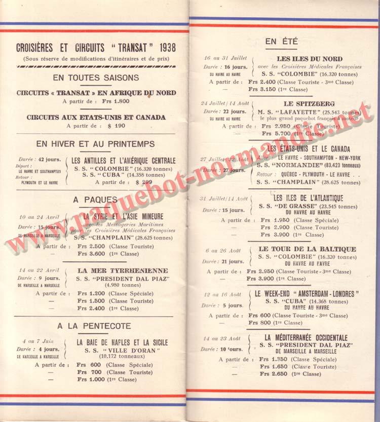 PAQUEBOT NORMANDIE - LISTE DES PASSAGERS DU 27 AVRIL 1938 - 1ère CLASSE / 1-10