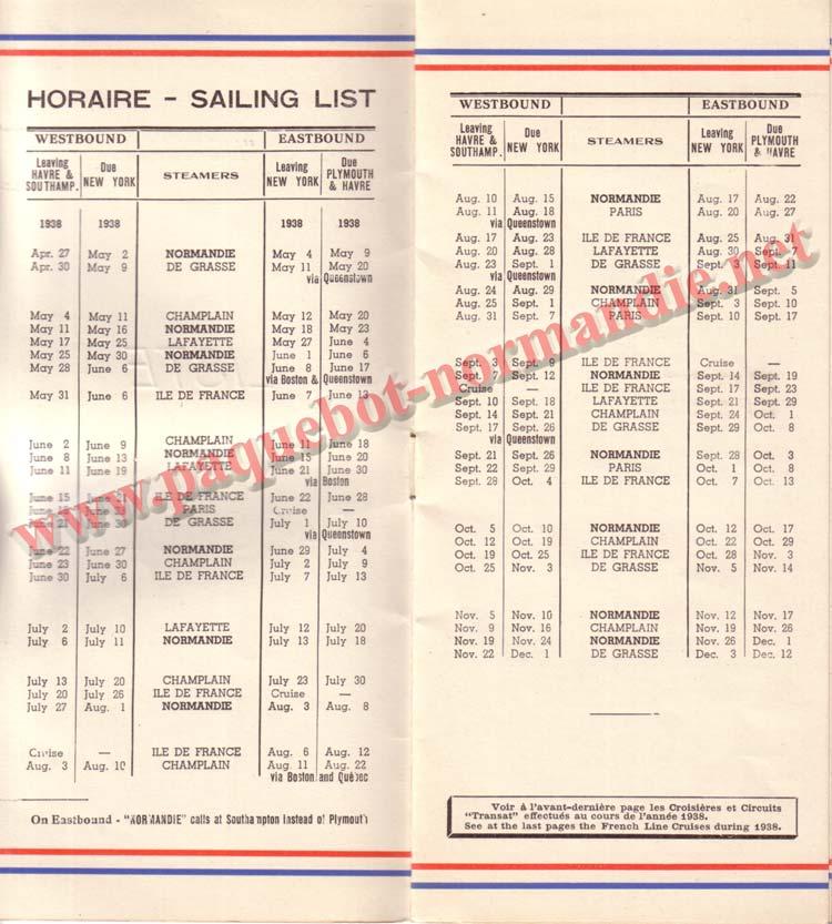 PAQUEBOT NORMANDIE - LISTE DES PASSAGERS DU 27 AVRIL 1938 - 1ère CLASSE / 1-2