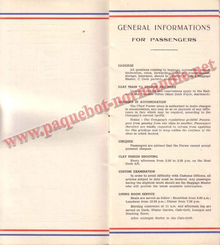 PAQUEBOT NORMANDIE - LISTE DES PASSAGERS DU 27 AVRIL 1938 - 1ère CLASSE / 1-3