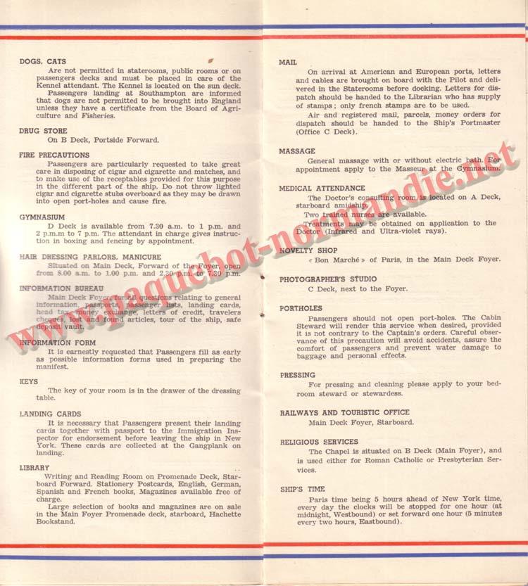PAQUEBOT NORMANDIE - LISTE DES PASSAGERS DU 27 AVRIL 1938 - 1ère CLASSE / 1-4