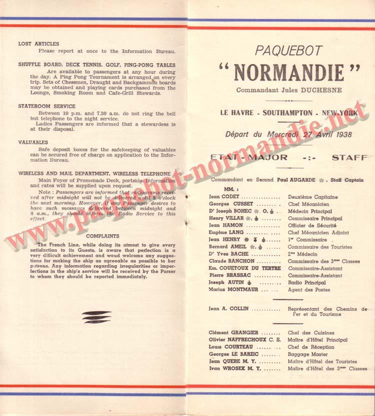 PAQUEBOT NORMANDIE - LISTE DES PASSAGERS DU 27 AVRIL 1938 - 1ère CLASSE / 1-5