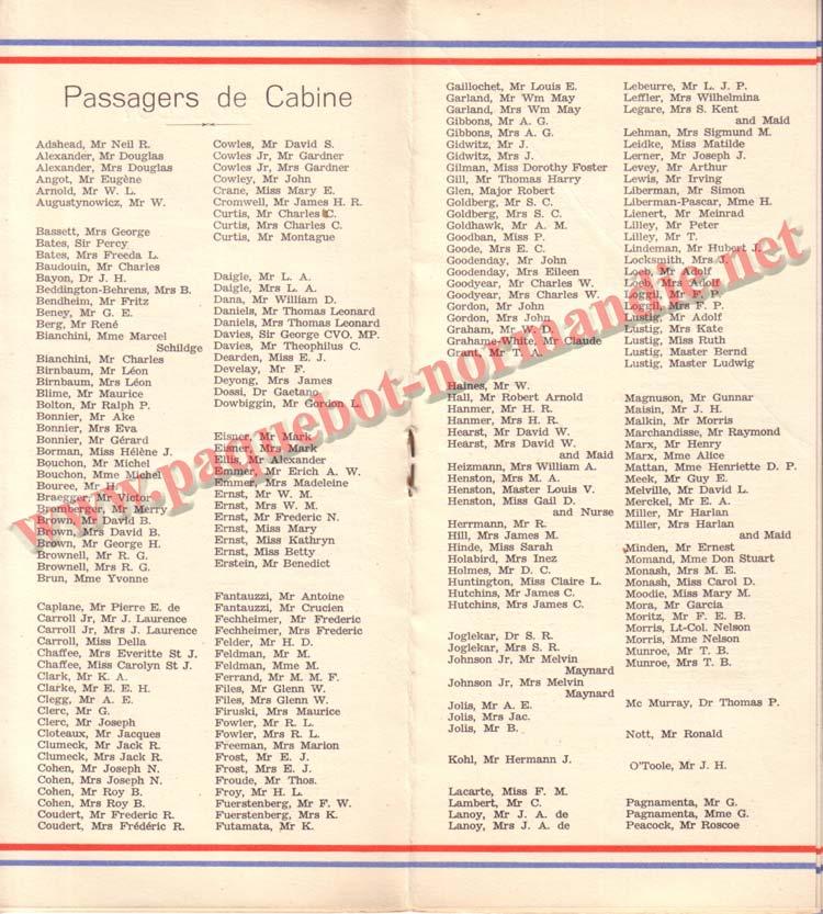 PAQUEBOT NORMANDIE - LISTE DES PASSAGERS DU 27 AVRIL 1938 - 1ère CLASSE / 1-6