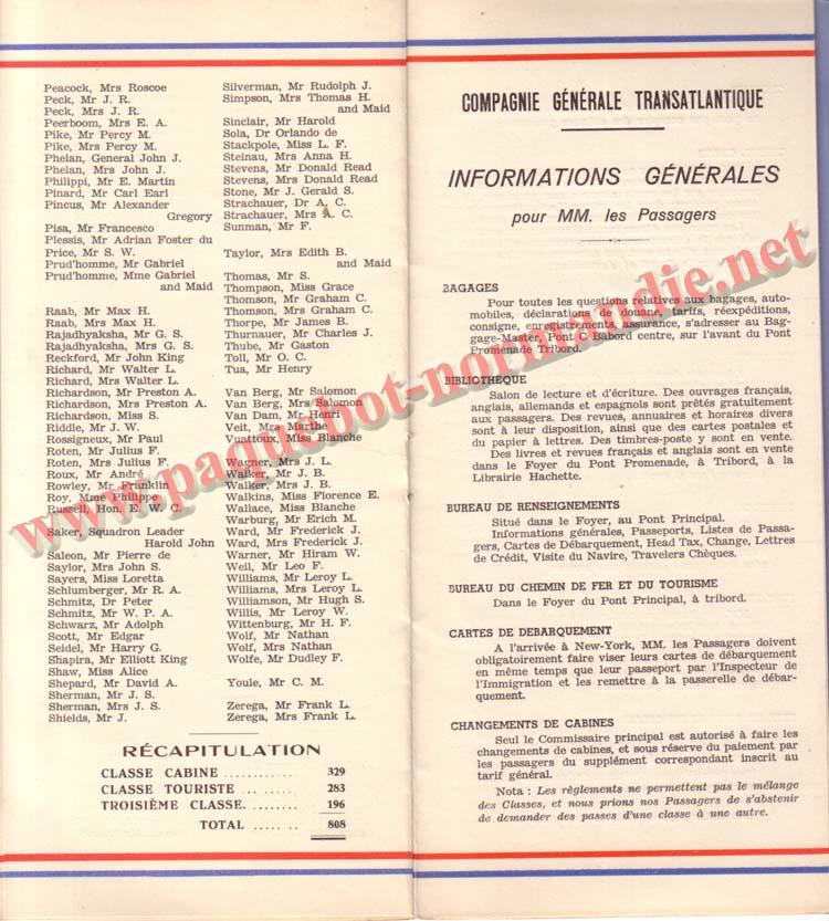 PAQUEBOT NORMANDIE - LISTE DES PASSAGERS DU 27 AVRIL 1938 - 1ère CLASSE / 1-7