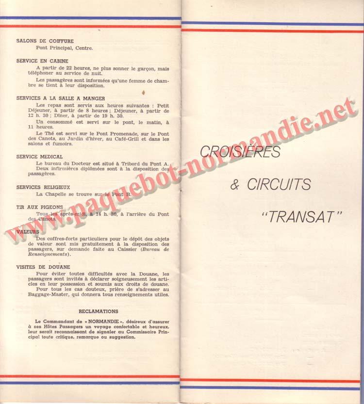 PAQUEBOT NORMANDIE - LISTE DES PASSAGERS DU 27 AVRIL 1938 - 1ère CLASSE / 1-9
