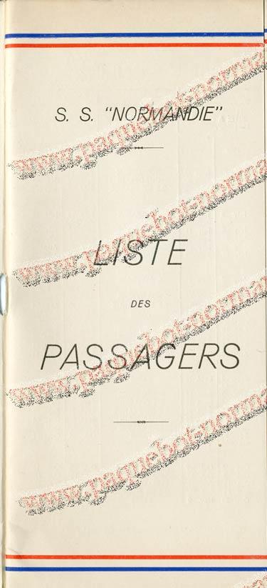 S.S NORMANDIE - LISTE PASSAGERS DU 27 JUILLET 1938 - 1ère CLASSE / 1-1