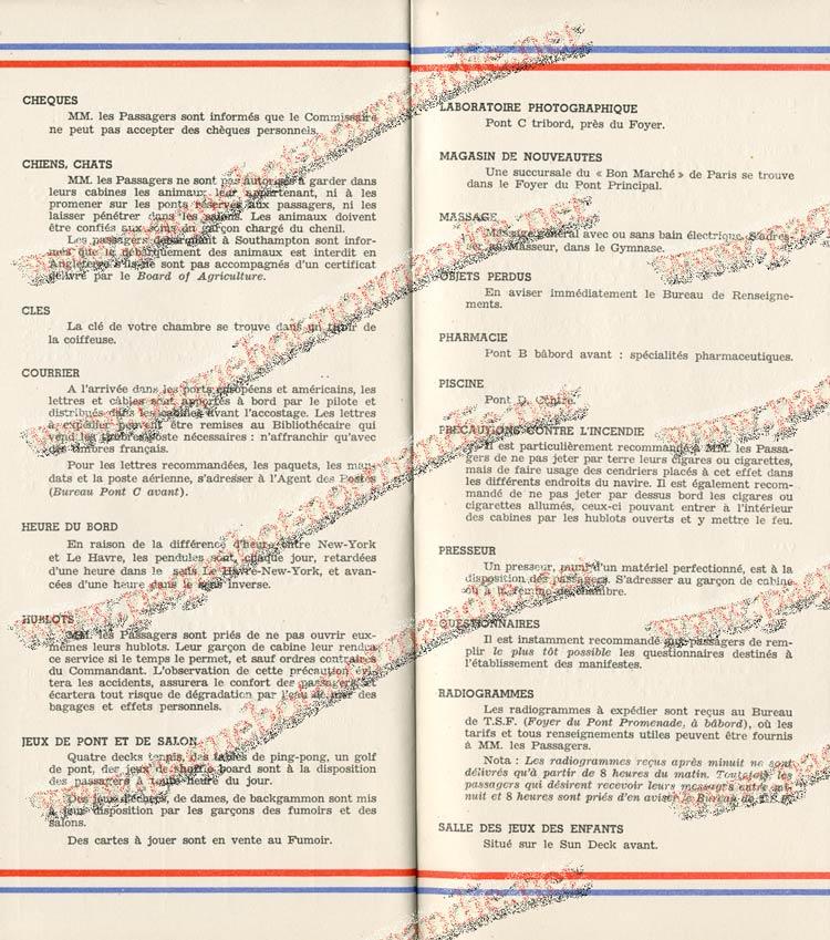 S.S NORMANDIE - LISTE PASSAGERS DU 27 JUILLET 1938 - 1ère CLASSE / 1-10
