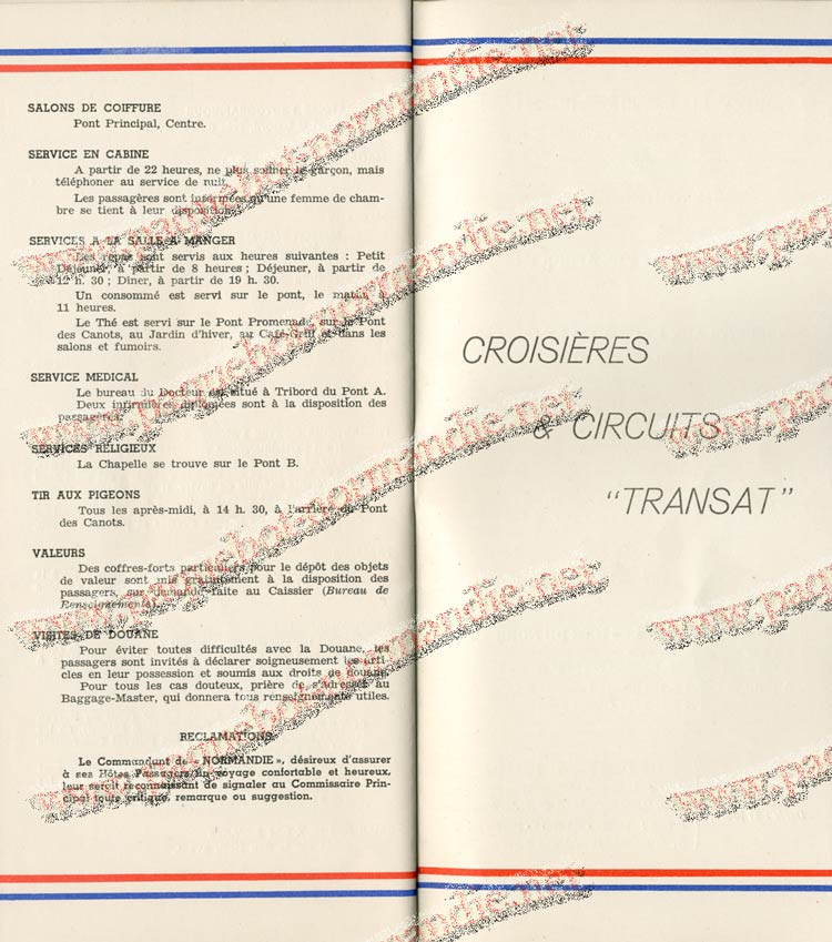 S.S NORMANDIE - LISTE PASSAGERS DU 27 JUILLET 1938 - 1ère CLASSE / 1-11