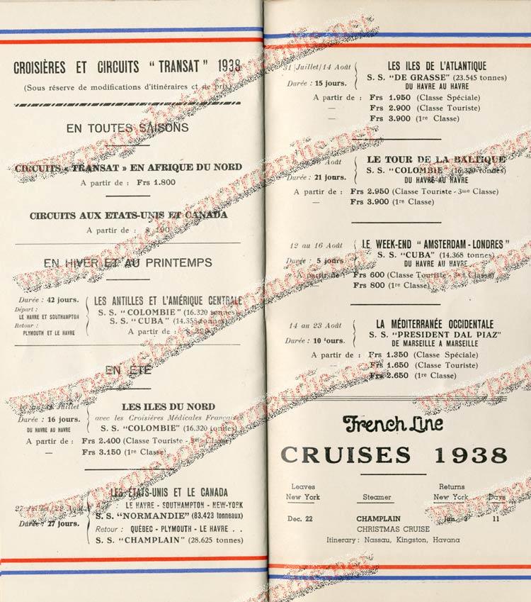 S.S NORMANDIE - LISTE PASSAGERS DU 27 JUILLET 1938 - 1ère CLASSE / 1-12