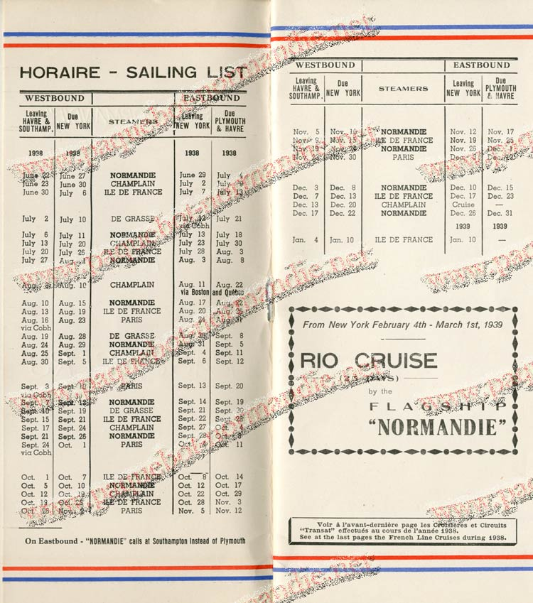 S.S NORMANDIE - LISTE PASSAGERS DU 27 JUILLET 1938 - 1ère CLASSE / 1-2